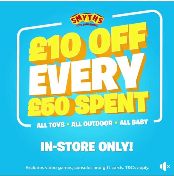 Smyths Toys £10 off EVERY £50 Spend