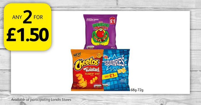 Any 2 for £1.50 on Bags of Crisps
