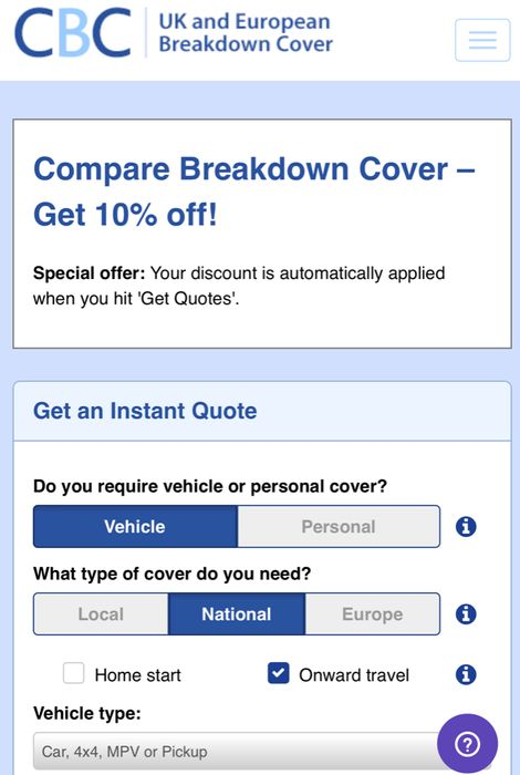 10% off Policy Orders at CompareBreakDownCover