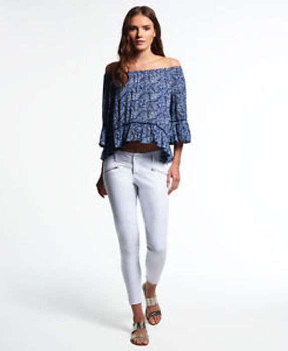 """Womens Superdry Leila Skinny Cropped Jeans Optic White (24/28"""")"""