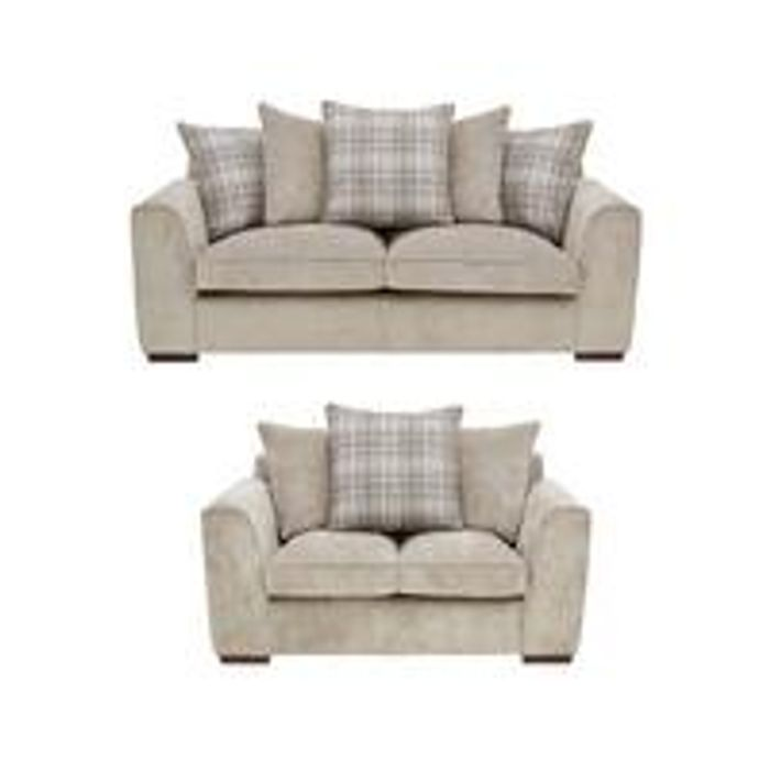 Campbell Fabric 3 Seater+ 2 Seater Scatter Back Sofa Set (Buy and SAVE!)