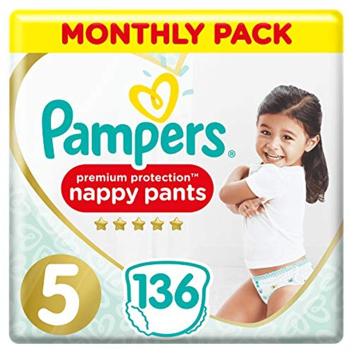 Best Ever Price! Pampers Premium Protection Nappy Pants Size 5 - Pack of 136