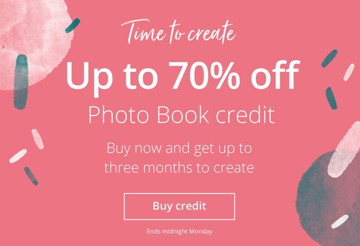 Get up to 70% off in the Photobox Book Credit Sale and 40% off Everything Else