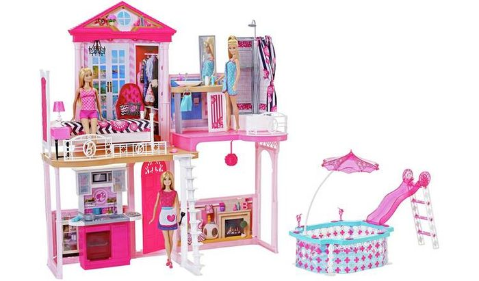 Best Price Complete Barbie Home Set with 3 Dolls and Pool