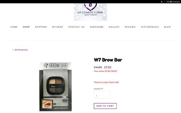 W7 Brow Bar, Only 1 Left!