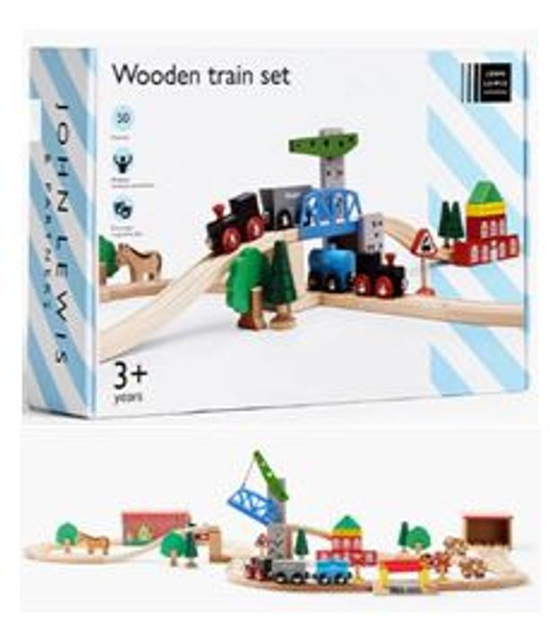Bargain! JL Wooden Train Set, 50 Pieces (Christmas Top 10 Toy)