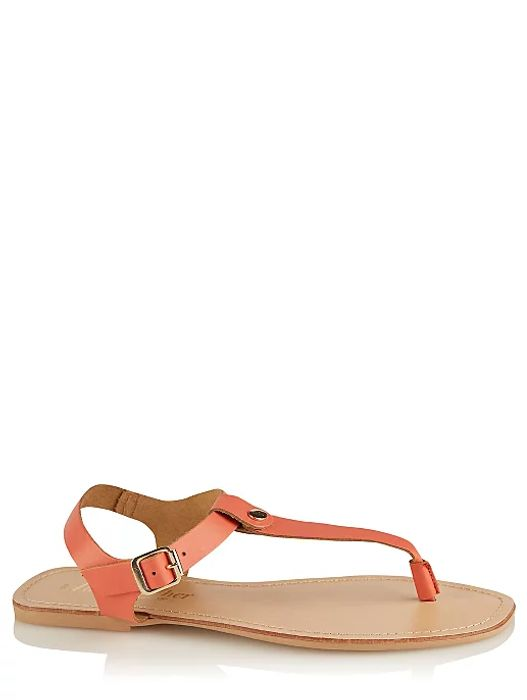 Orange Leather Toe Post Buckle Sandals