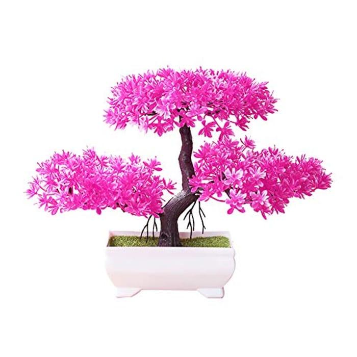 Artificial Pink Bonsai Mini Tree Plant Ornament