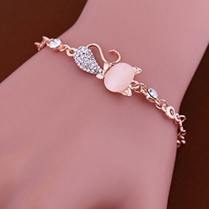 Pink Crystal Cute Cat's Eye Opal Chian Bracelet for Women