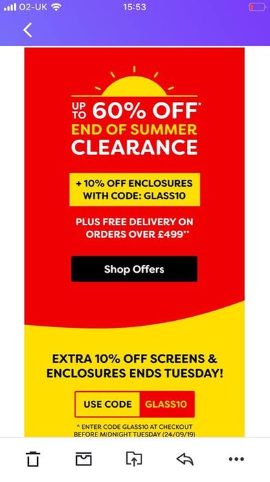 Upto 60% off and 10% off Glass Screens and Enclosures (Showers)