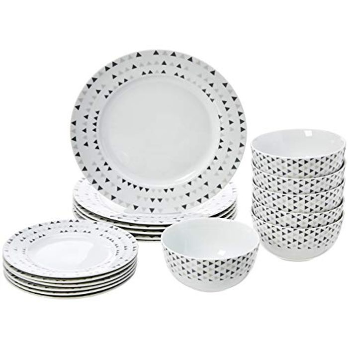 AmazonBasics 18-Piece Dinnerware Set - Triangle Accent, Service for 6