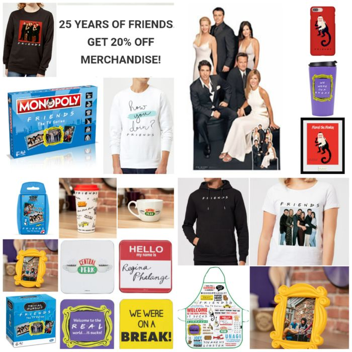 Get 20% off Friends Gifts and Clothing (232 Items) to Celebrate 25 Years!