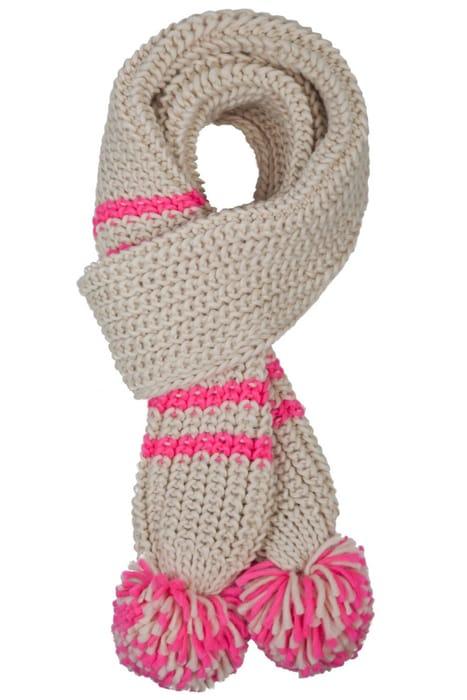 Pink Stripe Pom Pom Scarf Only £2.8