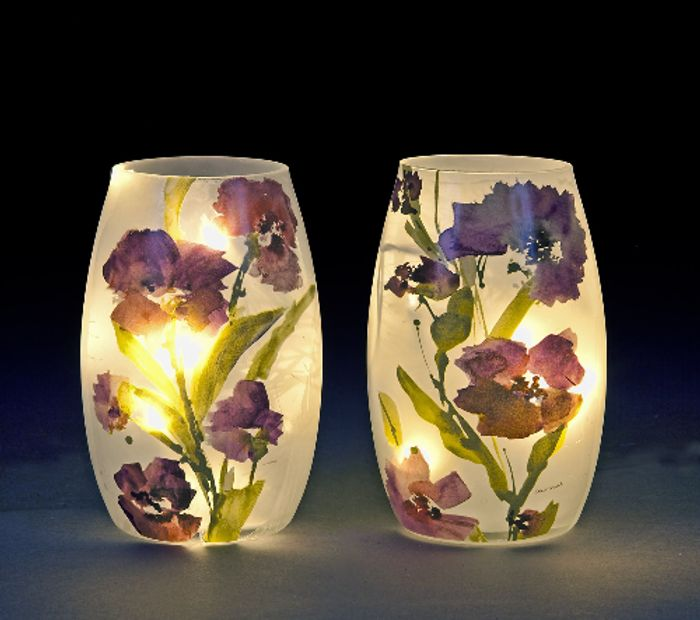 Cheap Glass LED Light Vase with Purple Floral Design, Only £12.99
