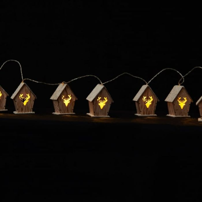 10 LED Wooden Houses String Lights with Snow