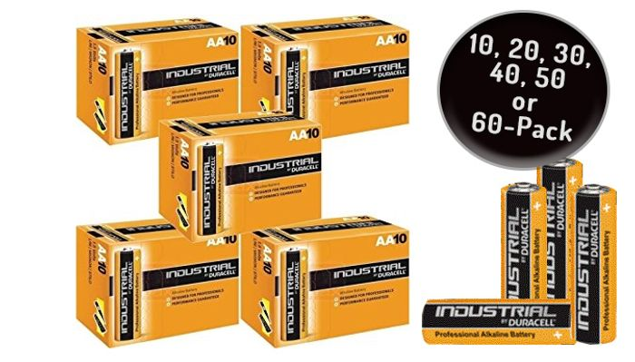 Best Price Duracell AA or AA Industrial Alkaline Batteries - 10, 20, 30, 40, 50
