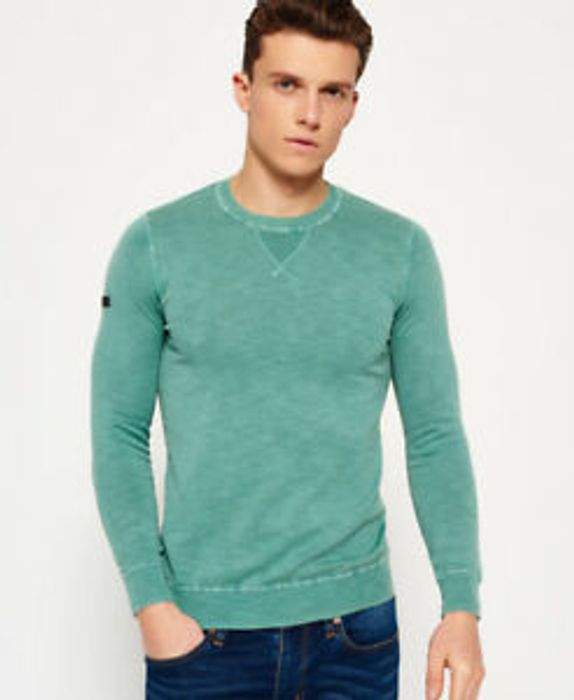 Best Price Mens Superdry Garment Dyed L.A Crew Neck Jumper Freeway Green (Small)