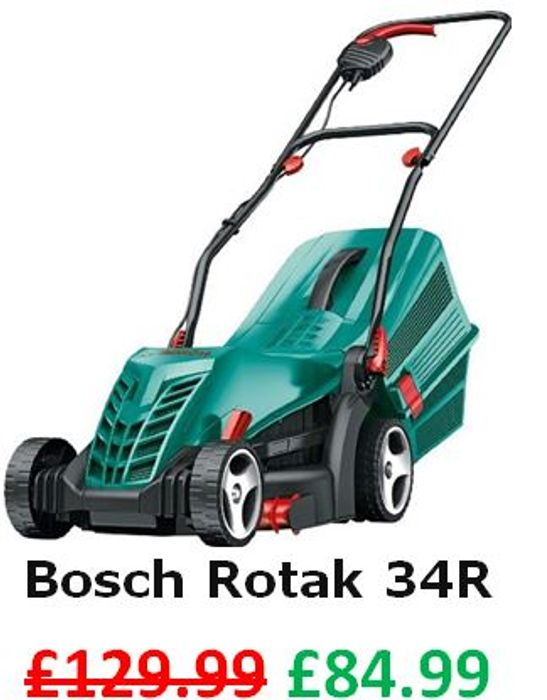 SAVE £45. Bosch Rotak 34 R Electric Rotary Lawn Mower (34cm Cut)