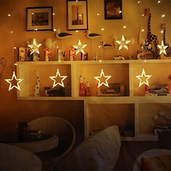 Amzdeal Led Star Lights & Star Curtain Lights, 12 Stars 138pcs LED