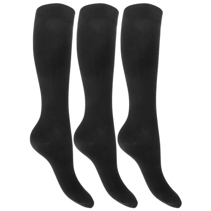 Girls Plain Knee High Cotton Rich Socks with Stretch (Pack of 3)