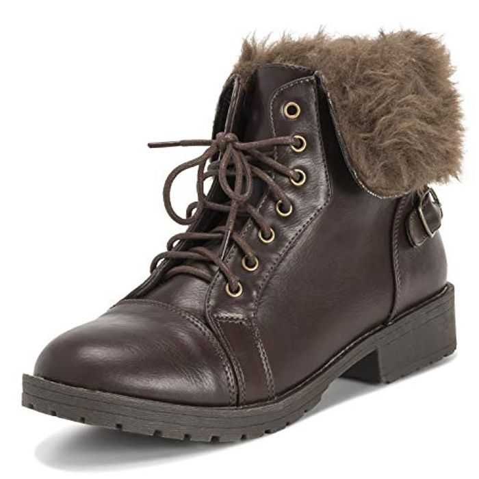 Best Price Viva Womens Faux Fur Winter Combat Military Ankle Boots Only £6.99