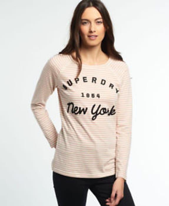 Womens Superdry Applique Raglan Stripe T-Shirt Blush Pink (XXS, XS)
