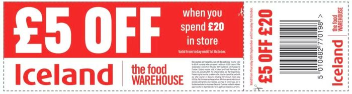 £5 off £20 Spend at Iceland via Voucher in Metro Newspaper