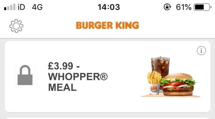 Special Offer on Whopper Meal via Burger King App