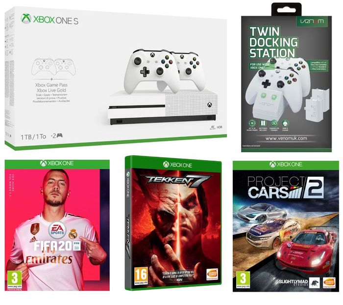 Xbox One S with Dual Wireless Controllers, FIFA 20, Tekken 7, Project Cars 2 +