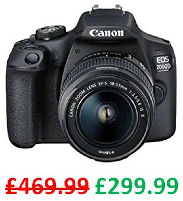 SAVE £170 - Canon EOS 2000D DSLR Camera and EF-S 18-55 mm Lens