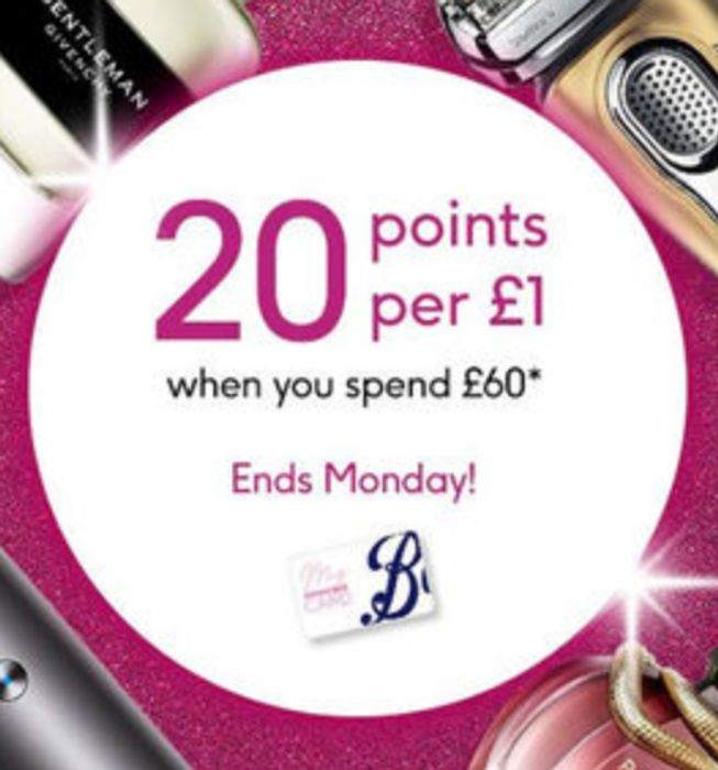 Boots Points Event - 20p Back in Points per £1 Spend £50 Instore / £60 Online