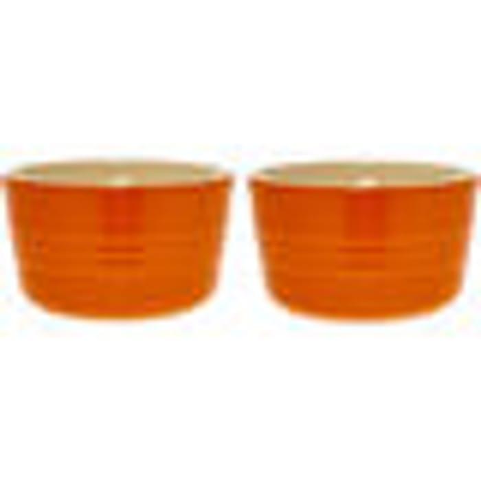 LE CREUSET 2 X Orange Stonewear Ramekins