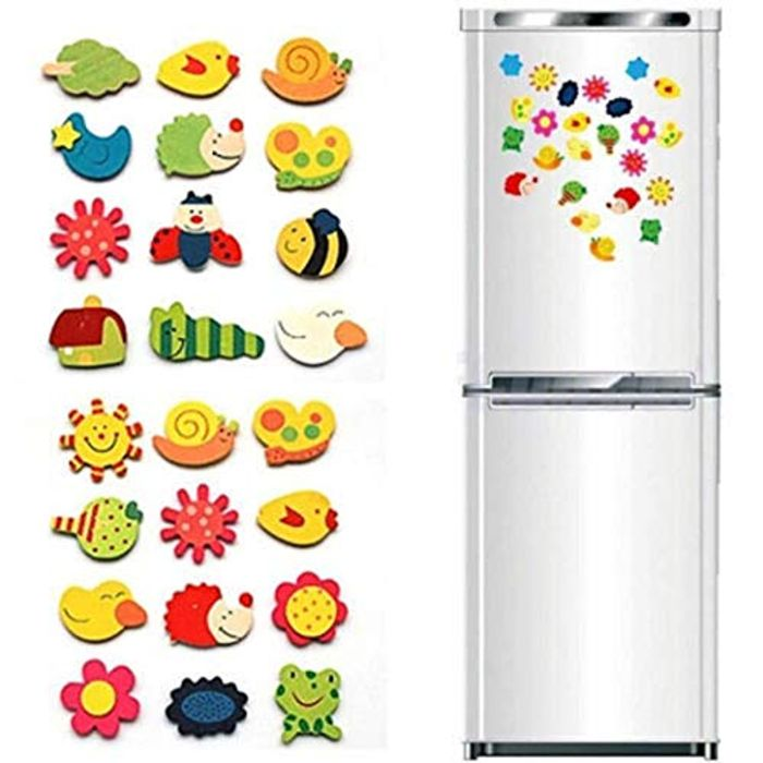 12 Pc Cartoon Animal Plant Pattern Wooden Magnet Refrigerator Stickers