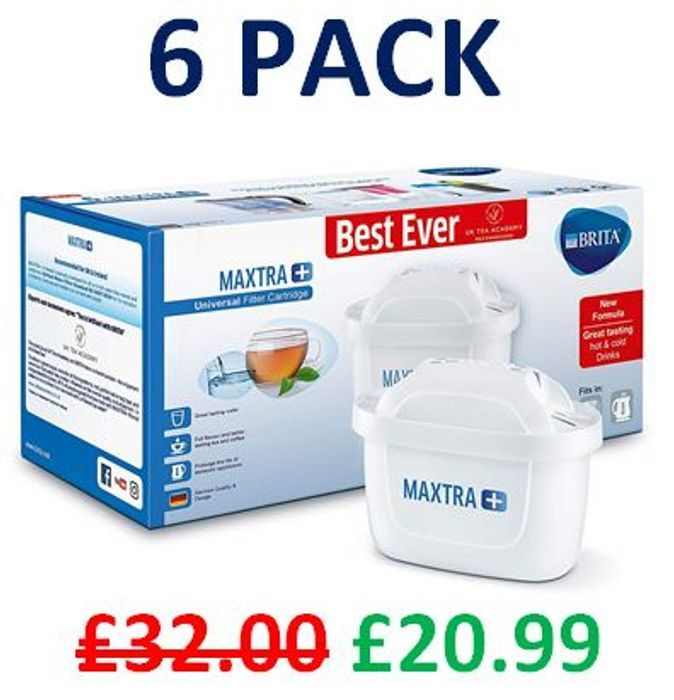 6 BRITA MAXTRA+ Water Filter Cartridges - save £11 + FREE DELIVERY