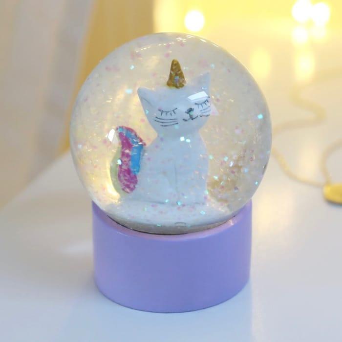 Unicorn Cat Glitter Snow Globe