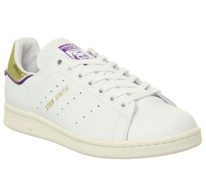 Adidas Stan Smith Trainers off White Purple Gold Metallic Elizabeth Tfl
