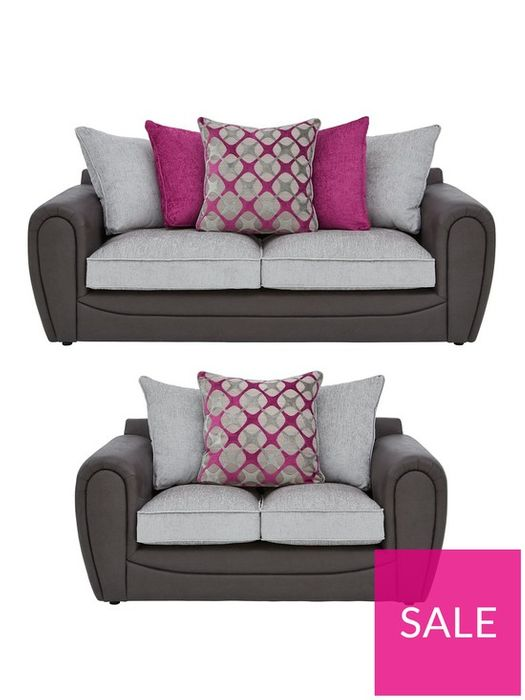 *SAVE £1030* Moreno Faux Snakeskin and Fabric 3 Seater + 2 Seater Sofa Set