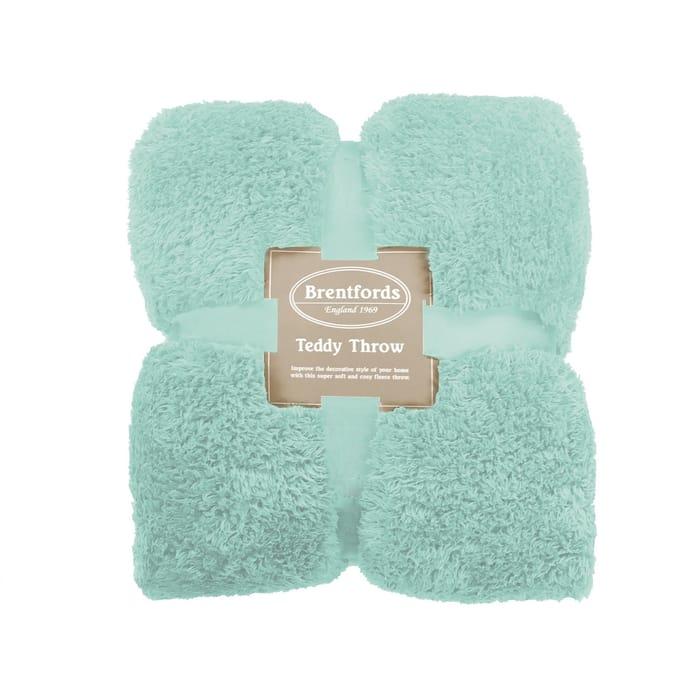 Teddy Bear Fleece Throw - Duck Egg Blue