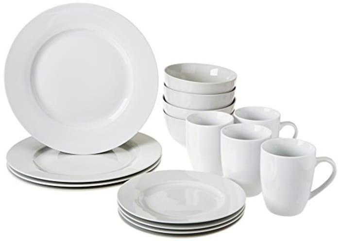 AmazonBasics Dinnerware Set, Service for 4, 16-Piece
