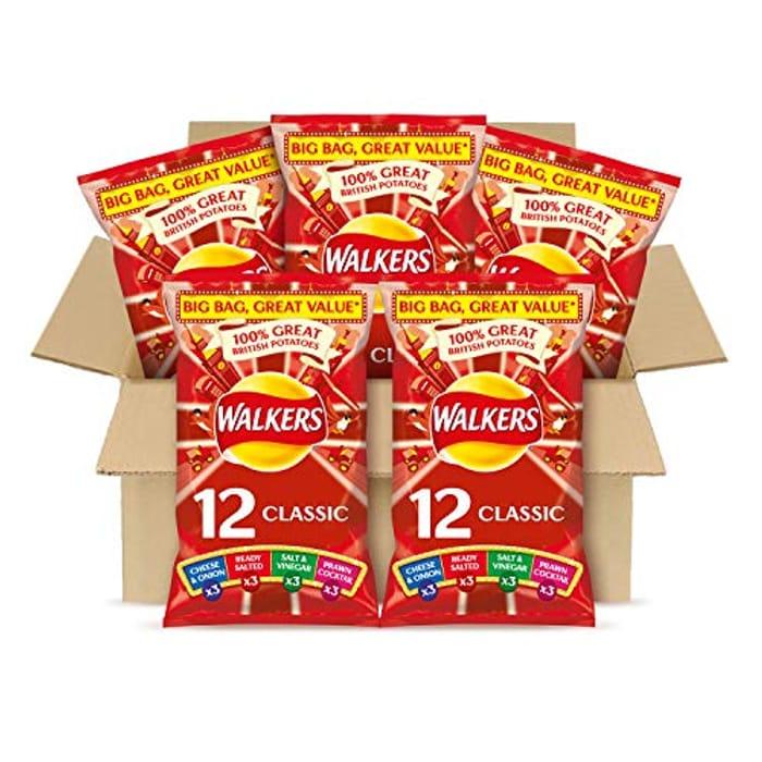 Best Ever Price! 12.5p per bag! Walkers Variety Multipack Crisps Box 60 Bags