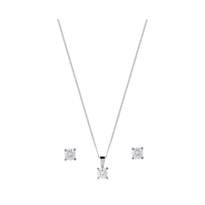 Cheap 18ct White Gold 1.00ct Diamond Pendant Earring Set - Save £2400