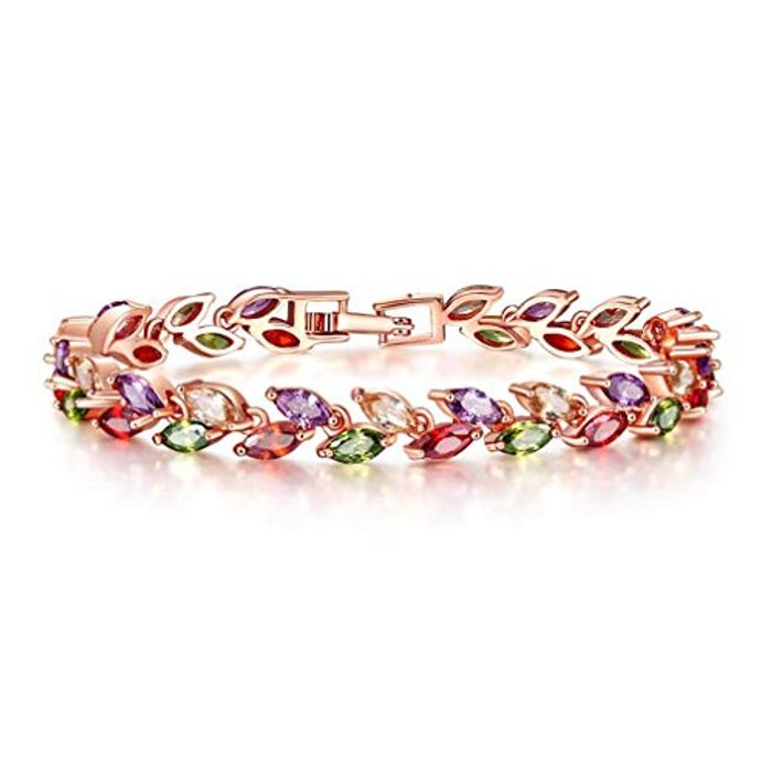 Cheap Buckle Bracelet Rose Gold Plated Zircon Leaves for Women Only £3.49