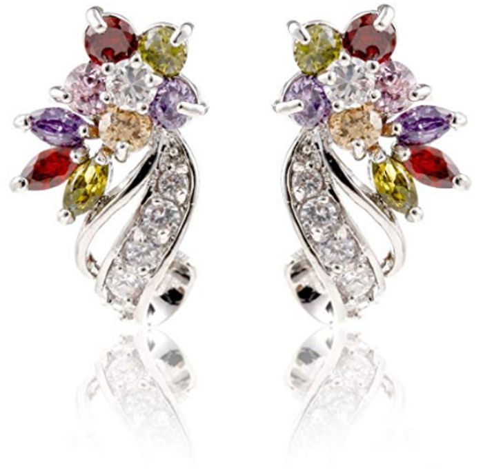 Cheap Rhodium Plated Cubic Zirconia Flower Stud Earrings at Amazon Only £3.7