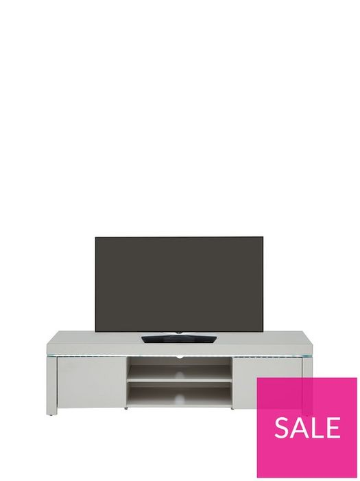 """*SAVE £40* Atlantic High Gloss TV Unit with LED Lights Grey Fits up to 65"""" TV"""