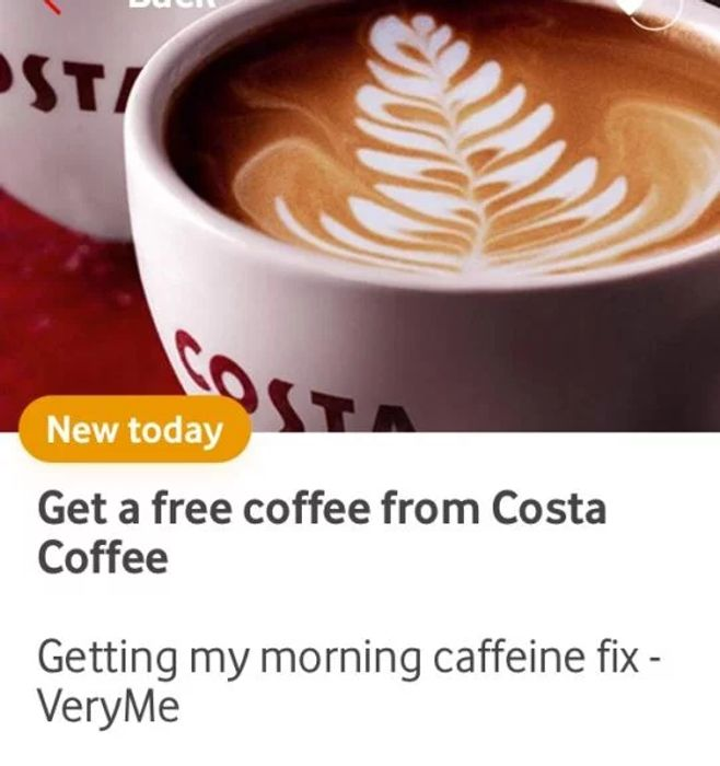 Free Hot Drink from Costa Coffee at Vodafone VeryMe
