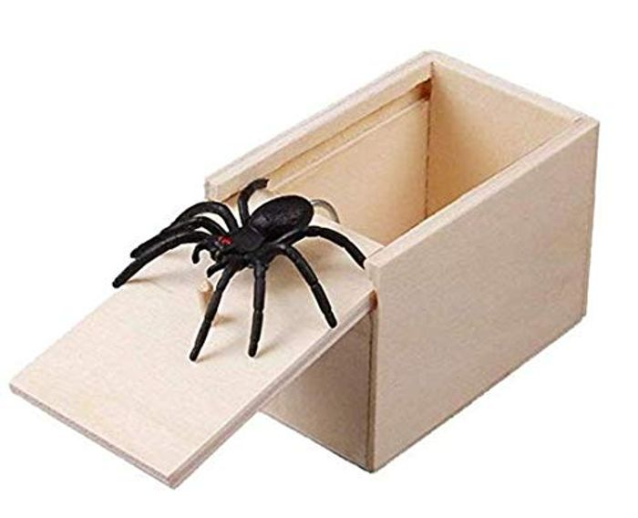 1 Pcs Wooden Prank Spider Scare Box