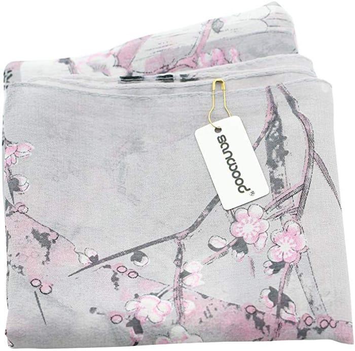 Sanwood Ladies Chiffon Scrawl Flower Printed Wrap Scarf FREE DELIVERY