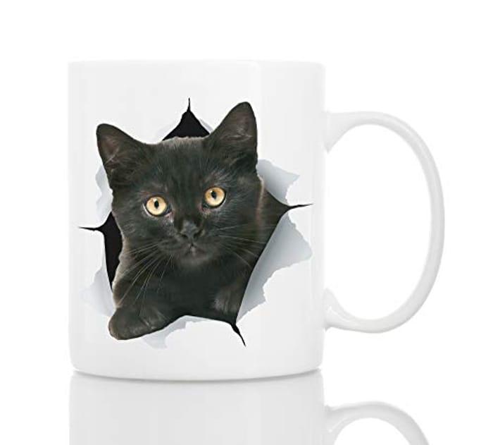 Funny Black Kitten Coffee Mug | Ceramic 11oz Funny Coffee Mug Perfect Cat Gift
