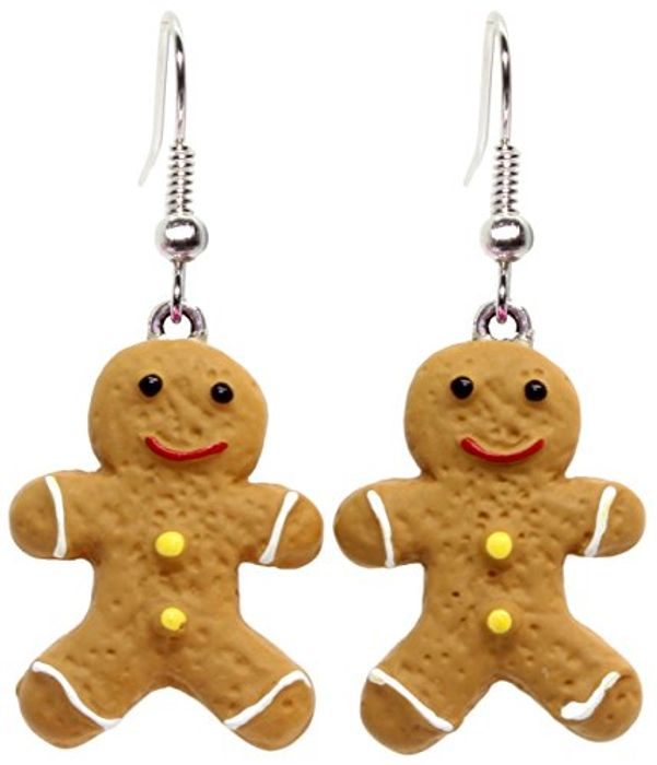 Bluebubble CHRISTMAS COOKIE Iced Gingerbread Man DangleEarrings with Gift Box