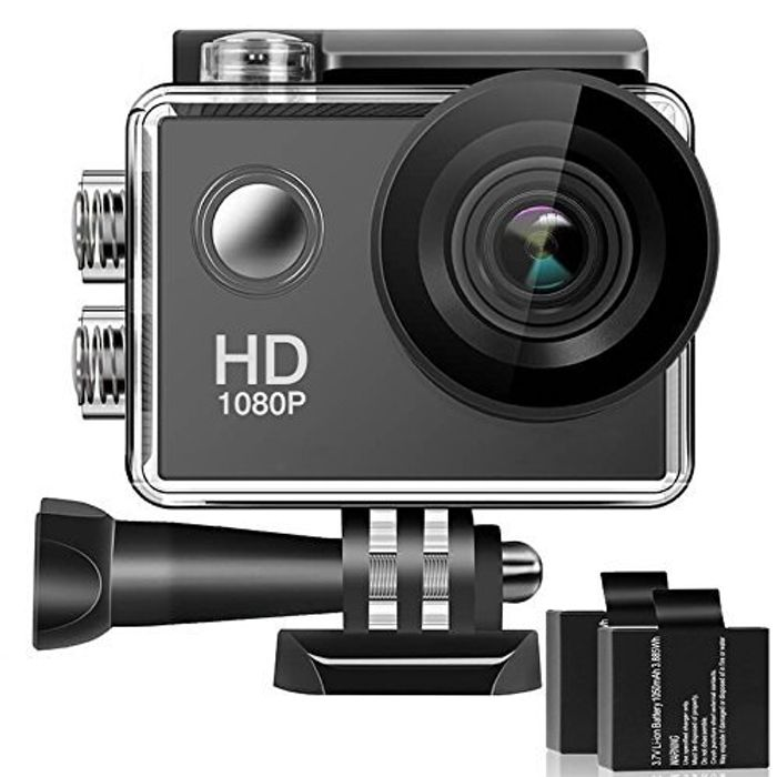 Waterproof Screen Action Camera with 2 Rechargeable Batteries